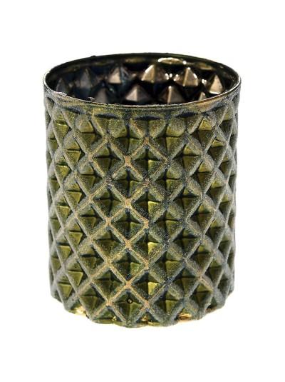 Γυάλινο Κηροπήγιο σε Πράσινο / Χρυσό 9Χ10  Εκατοστά
