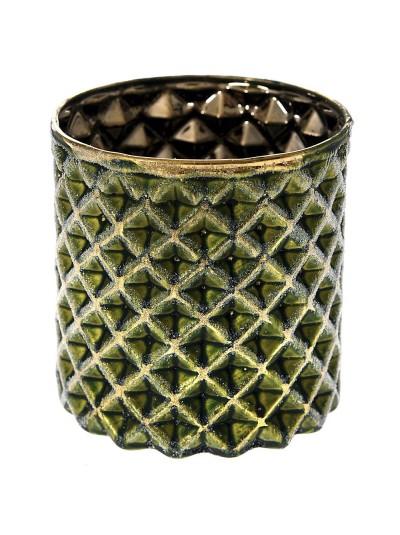 Γυάλινο Κηροπήγιο σε Πράσινο / Χρυσό 8Χ8 Εκατοστά