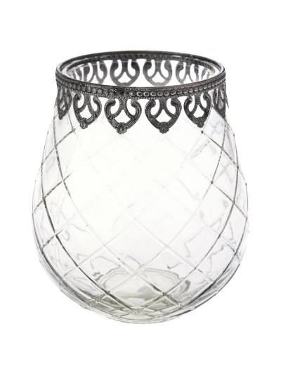Διάφανο Βάζο με Μεταλλικές Λεπτομέρειες για Κερί 16Χ18 Εκατοστά