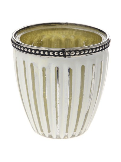 Βάζο για Κερί σε Λευκό / Ασημί Ριγέ 9Χ9 Εκατοστά