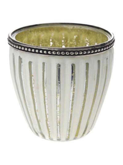 Βάζο για Κερί Λευκό / Ασημί Ριγέ 10Χ10 Εκατοστά