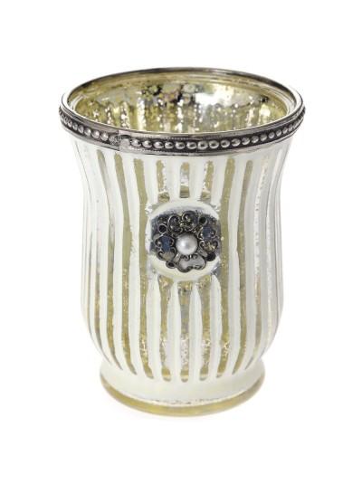 Βάζο για Κερί σε Λευκό / Ασημί με Πέρλα 9Χ12 Εκατοστά