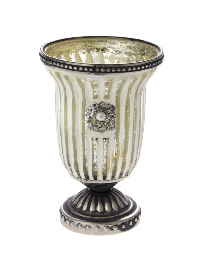 Βάζο για Κερί Λευκό / Ασημί Ριγέ 10Χ15 Εκατοστά
