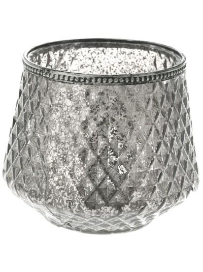 Μεταλλικό Βάζο Ασημί για Κερί 16Χ13 Εκατοστά