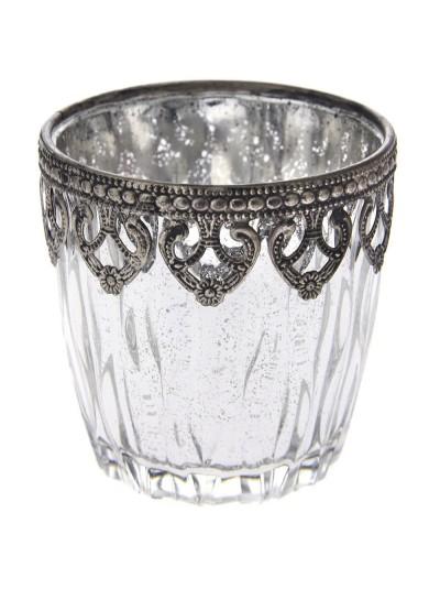 Μεταλλικό Βάζο Ασημί για Κερί 10Χ9 Εκατοστά