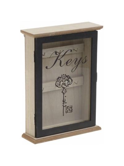 INART Κλειδοθήκη Ξύλινη με 6 Θέσεις Κλειδιών, Πορτάκι και Τζάμι Μπεζ/Μαύρο Κωδικός: 6-70-151-0027