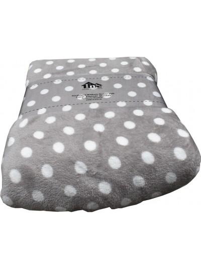 Fleece Κουβέρτα Flannel Πουά Γκρι TNS Κωδικός: 39-950-1544a Διαστάσεις: 2,00Χ2,20 Εκατοστά
