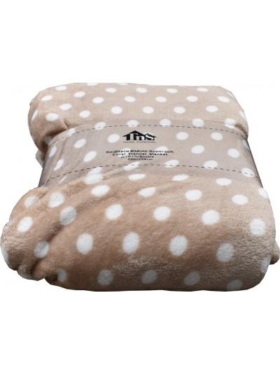 Fleece Κουβέρτα Flannel Πουά Μπεζ/Καφέ TNS Κωδικός: 39-950-1544b Διαστάσεις: 2,00Χ2,20 Εκατοστά