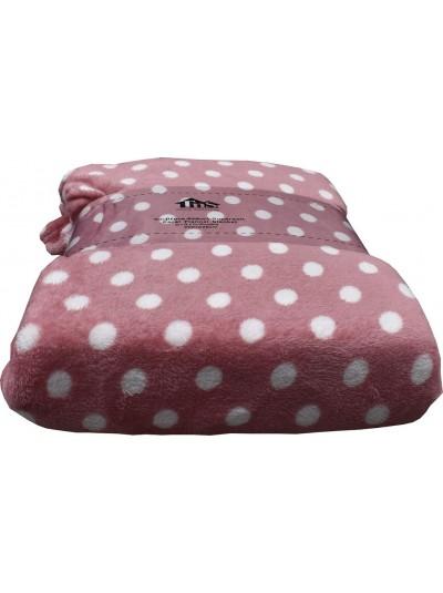 Fleece Κουβέρτα Flannel Πουά Σομόν TNS Κωδικός: 39-950-1544c Διαστάσεις: 2,00Χ2,20 Εκατοστά