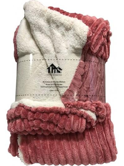 Κουβέρτα Flannel Ριγέ Σομόν TNS  Κωδικός: 39-950-1552c Διαστάσεις: 1,50Χ2,20 Εκατοστά
