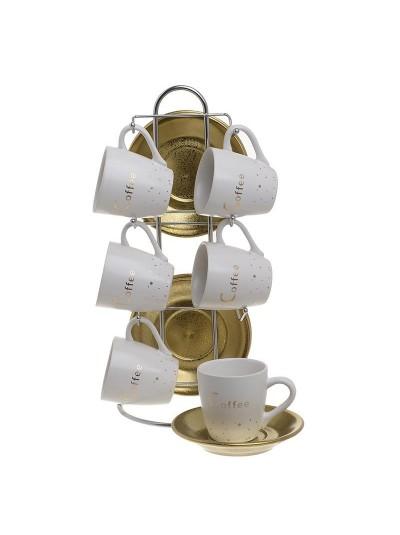 INART Σετ Καφέ 6 Τεμαχίων Με Βάση Λευκό/Χρυσό Κωδικός: 3-60-931-0152
