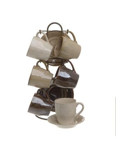 INART Σετ Καφέ 6 Τεμαχίων Με Βάση Καφέ/Μπεζ Κωδικός: 3-60-931-0162