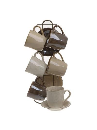 INART Σετ Τσαγιού 6 Τεμαχίων Με Βάση Καφέ/Μπεζ Κωδικός: 3-60-931-0163