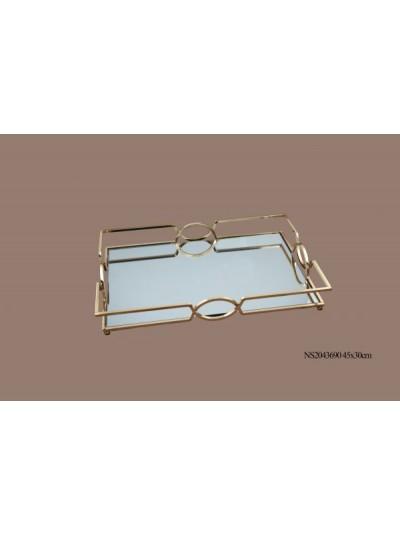 La Vista Μεταλλικός Δίσκος  με Καθρέφτη 45X30 Εκατοστά