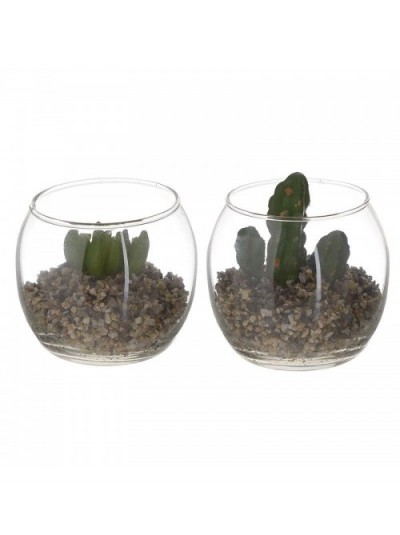 Φυτό Σε Γυάλα 2 Σχέδια INART Κωδικός: 3-85-890-0003 Διαστάσεις: 8Χ8Χ7 Εκατοστά