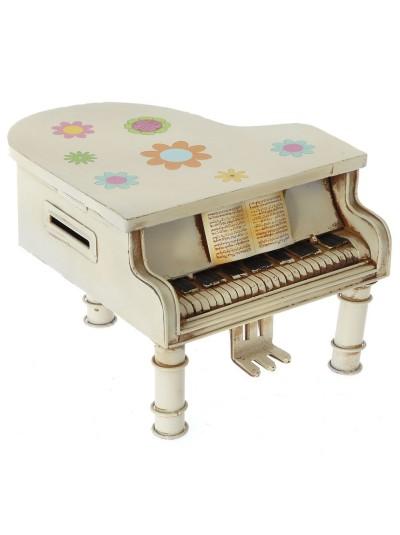 Μεταλλικό Πιάνο Kρεμ Μινιατούρα 14X15X10 Εκατοστά