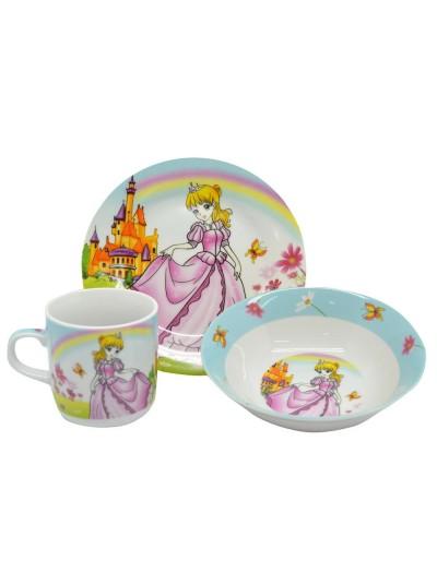 Παιδικό Σετ Φαγητού 3 Τμχ. Πορσελάνης με Σχέδιο Πριγκίπισσα ANKOR Κωδικός: 790104