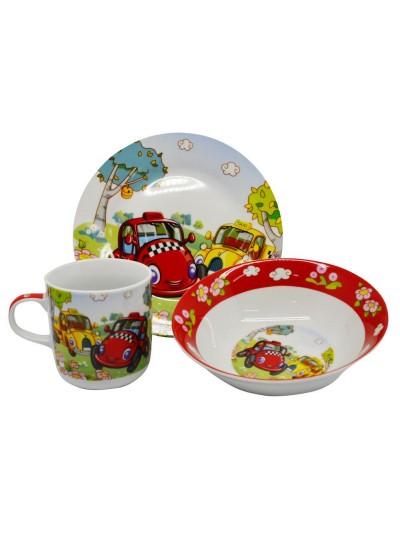 Παιδικό Σετ Φαγητού 3 Τμχ Πορσελάνης με Σχέδιο Αυτοκίνητα ANKOR Κωδικός: 790111