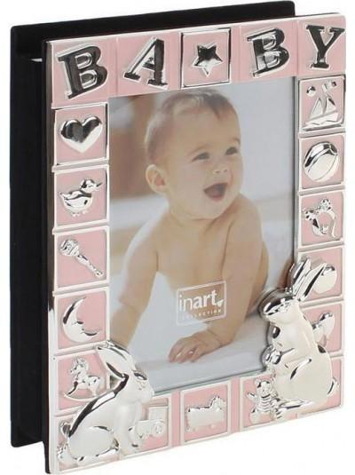 Άλμπουμ Φωτογραφιών Μεταλλικό Παιδικό INART Ροζ με Λαγουδάκια Κωδικός: 3-30-056-1011