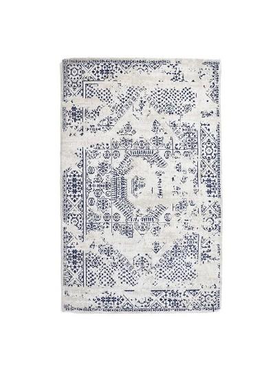 Βαμβακερό/Σενίλ Χαλί Λευκό/Μπλε INART Κωδικός: 3-35-419-0086 Διαστάσεις: 70X110 Εκατοστά