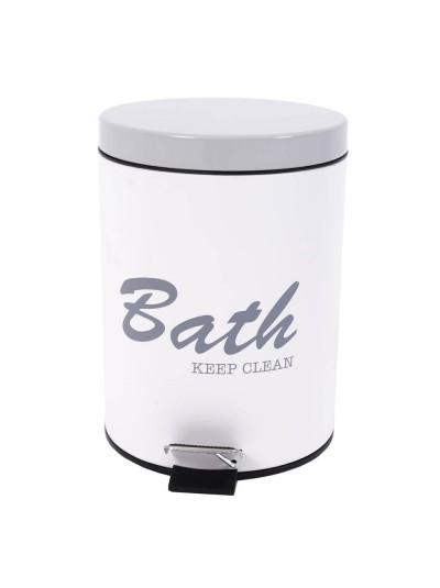 """Καλάθι Μπάνιου Πεντάλ Ανοξείδωτο """"Bath Keep Clean"""" Γκρι/Λευκό 5lt ANKOR Κωδικός: 795123 Διαστάσεις: 27Χ20,2 Εκατοστά"""