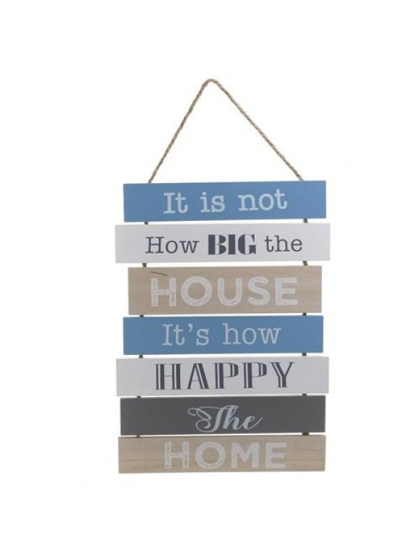 INART Διακοσμητικό Τοίχου Ξύλινο Μπλε-Καφέ-Μπεζ με Χαρούμενο Μήνυμα Κωδικός: 6-70-151-0019 Διαστάσεις: 31Χ42Χ54 Εκατοστά