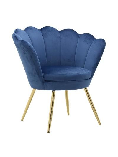INART Βελούδινη Πολυθρόνα Μπλε/Χρυσό Διαστάσεις : 76Χ60Χ80εκ Κωδ: 3-50-372-0009