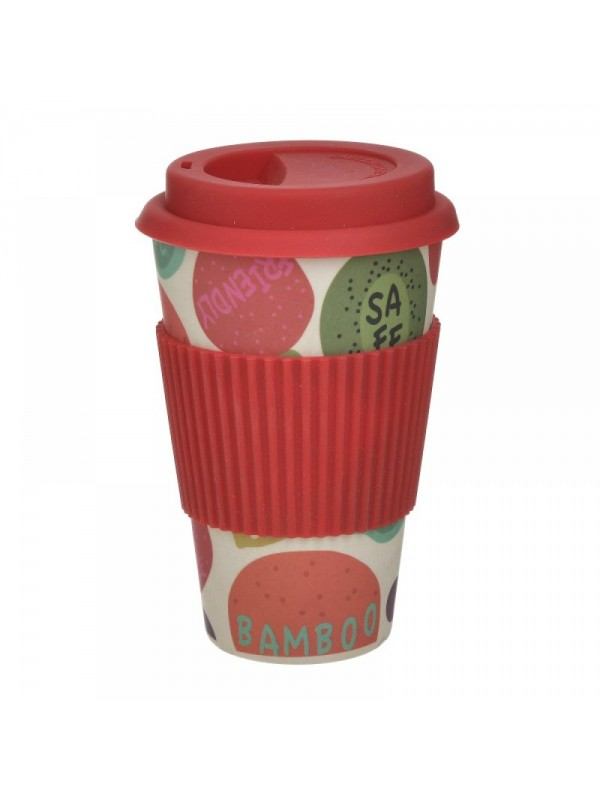 INART Ποτήρι Μπαμπού Με Καπάκι Κόκκινο 9Χ14εκ. Κωδ.: 6-60-066-0001