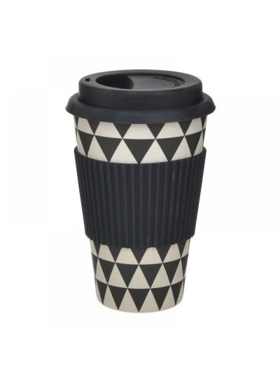 INART Ποτήρι Μπαμπού Με Καπάκι Μαύρο 9Χ14εκ. Κωδ.: 6-60-066-0002