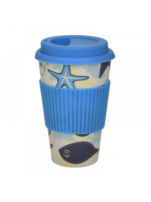 INART Ποτήρι Μπαμπού Με Καπάκι Μπλε 9Χ14εκ. Κωδ.: 6-60-066-0003