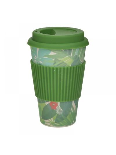 INART Ποτήρι Μπαμπού Με Καπάκι Πράσινο 9Χ14εκ. Κωδ.: 6-60-066-0004