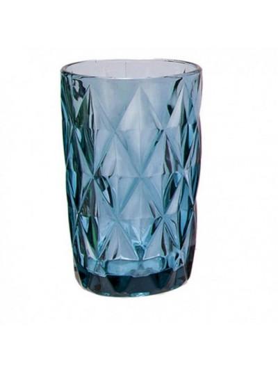 Ποτήρια Νερού Γυάλινα Σκαλιστά Σωλήνας Roman Μπλε Σετ 6