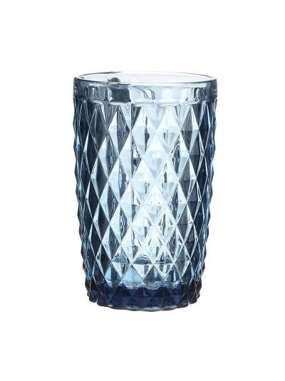 Ποτήρια Νερού Γυάλινα Σκαλιστά Σωλήνας Vintage Μπλε Σετ 6