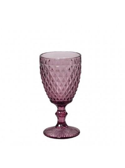 Ποτήρια Κρασιού Μωβ Γυάλινα Σκαλιστά Κολωνάτα Vintage Σετ των 6 250ml Κωδικός: 03-950-3226