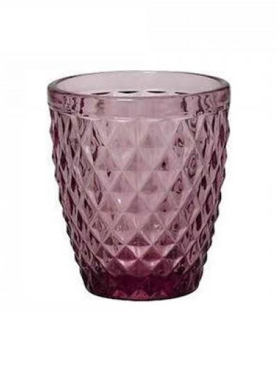 Ποτήρια Κρασιού Μωβ Γυάλινα Σκαλιστά Vintage Σετ των 6 270ml Κωδικός: 03-950-3228