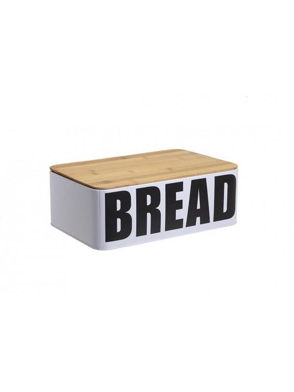 """INART Ψωμιέρα Μεταλλική/Ξύλινη/Λευκή με Λογότυπο """"Bread"""" Κωδικός: 6-60-560-0059 Διαστάσεις: 32Χ31Χ12 Εκατοστά"""