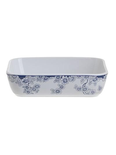 """Σκεύος Φούρνου / Πυρέξ Πυρίμαχο Ορθογώνιο """"Λουλούδια"""" INART Λευκό/Μπλε Κωδικός: 6-60-088-0011 Διαστάσεις: 22,5Χ16,5Χ5,5 Εκατοστά"""