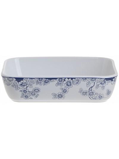 """Σκεύος Φούρνου / Πυρέξ Πυρίμαχο Ορθογώνιο """"Λουλούδια"""" INART Λευκό/Μπλε Κωδικός: 6-60-088-0012 Διαστάσεις: 27X21X6 Εκατοστά"""