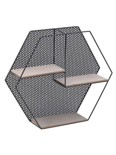 INART Μεταλλική Ραφιέρα Τοίχου Μαύρη-Natural Κωδικός: 3-50-154-0006 Διαστάσεις: 50Χ12X43 Εκατοστά