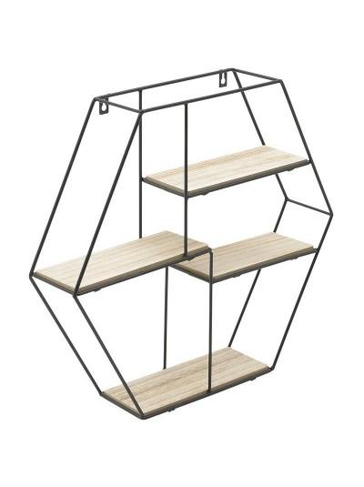 INART Ραφιέρα Τοίχου Ξύλινη με Μαύρο Μεταλλικό Σκελετό σε Σχήμα Πολύγωνο Κωδικός: 6-50-299-0013 Διαστάσεις: 50Χ10Χ46 Εκατοστά