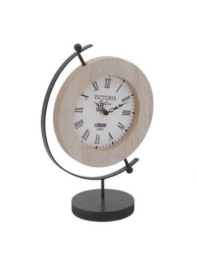 INART Επιτραπέζιο Ρολόι Ξύλινο Σε Μεταλλική Βάση Κωδικός: 3-20-768-0007 Διαστάσεις: 31Χ11Χ21.5 Εκατοστά