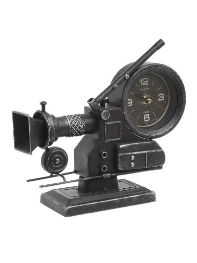 "INART Επιτραπέζιο Ρολόι Mεταλλικό ""Κάμερα"" Αντικέ Μαύρο Κωδικός: 3-20-977-0239 Διαστάσεις: 28Χ9.5Χ25.5 Εκατοστά"