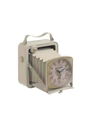 "INART Επιτραπέζιο Ρολόι Mεταλλικό ""Φωτογραφική Μηχανή"" Αντικέ Εκρού Κωδικός: 3-20-977-0262 Διαστάσεις: 19Χ15Χ20 Εκατοστά"