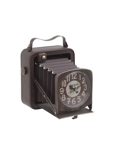 "INART Επιτραπέζιο Ρολόι Mεταλλικό ""Φωτογραφική Μηχανή"" Αντικέ Καφέ Κωδικός: 3-20-977-0263 Διαστάσεις: 19Χ15Χ20 Εκατοστά"