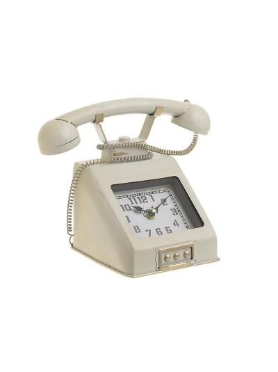 "INART Επιτραπέζιο Μεταλλικό Ρολόι ""Τηλέφωνο"" Εκρού Κωδικός: 3-20-977-0265 Διαστάσεις: 26Χ15Χ20 Εκατοστά"