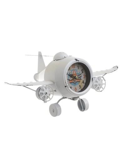 "INART Επιτραπέζιο Μεταλλικό Ρολόι ""Αεροπλάνο"" Λευκό Κωδικός: 3-20-977-0273 Διαστάσεις: 42Χ24Χ20 Εκατοστά"