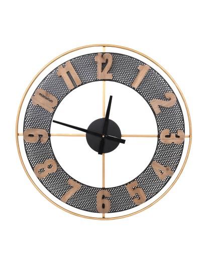 Fylliana Ρολόι Τοίχου Μεταλλικό Μαύρο-Χρυσό 71 Εκατοστά Κωδικός: 128-92-029