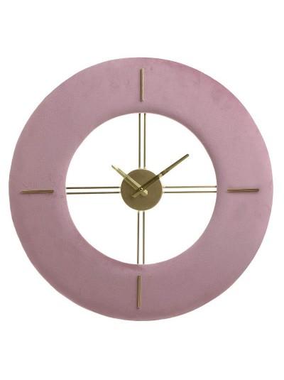 INART Μεταλλικό Ρολόι Τοίχου Βελούδινο Ροζ Κωδικός: 3-20-104-0072 Διαστάσεις: 48Χ3,5 Εκατοστά