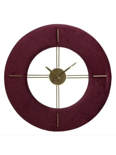 INART Μεταλλικό Ρολόι Τοίχου Βελούδινο Μπορντώ Κωδικός: 3-20-104-0073 Διαστάσεις: 48Χ3,5 Εκατοστά