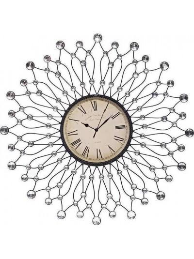 INART Ρολόι Τοίχου Μεταλλικό με Διαφανείς Πέτρες Κωδικός: 3-20-207-0004 Διαστάσεις: 60Χ2Χ60 Εκατοστά